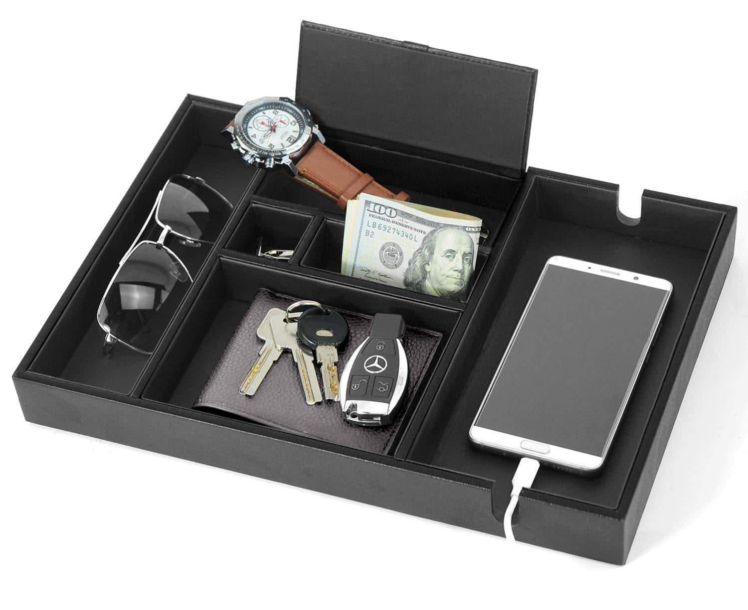 Try lifomenz co mens valet tray with charging station nightstand dresser organizer mens catchall tray for keys phone wallet coin jewelry sunglasses watch