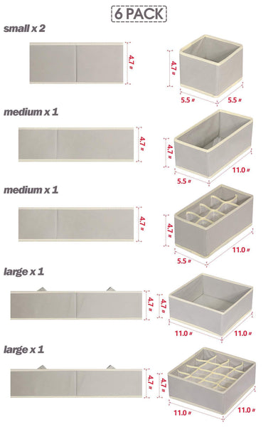Try tenabort 6 pack foldable drawer organizer dividers cloth storage box closet dresser organizer cube fabric containers basket bins for underwear bras socks panties lingeries nursery baby clothes gray