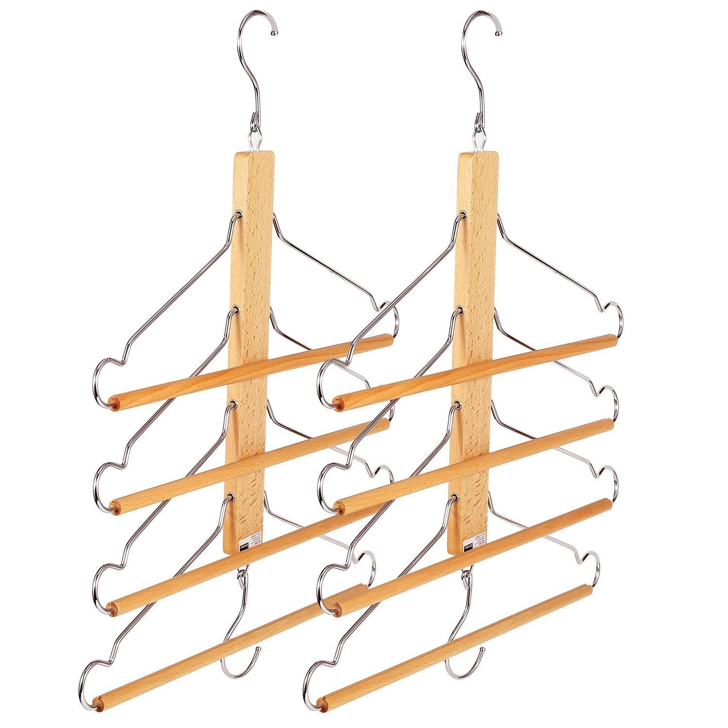 BESTOOL Pants Hangers, Wooden Pant Hangers, Non Slip Wood Hangers Clothes Hangers for Closet Space Saving, Heavy Duty Coat Hanger Huggable Baby Hangers, Dual-use Trouser Hanger