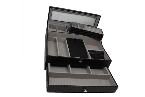 Shop jewelry valet tray for men sleek dresser organizer box for storage display perfect for phone watches sunglasses jewelry wallet rings necklace more carbon fiber faux leather
