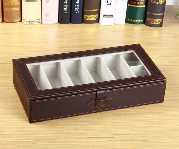 Try yapishi 7 slots sunglass organizer transparent eyeglasses display case for men women leather glasses holder eyewear storage box for home decoration nightstand bedside beside table dresser top brown