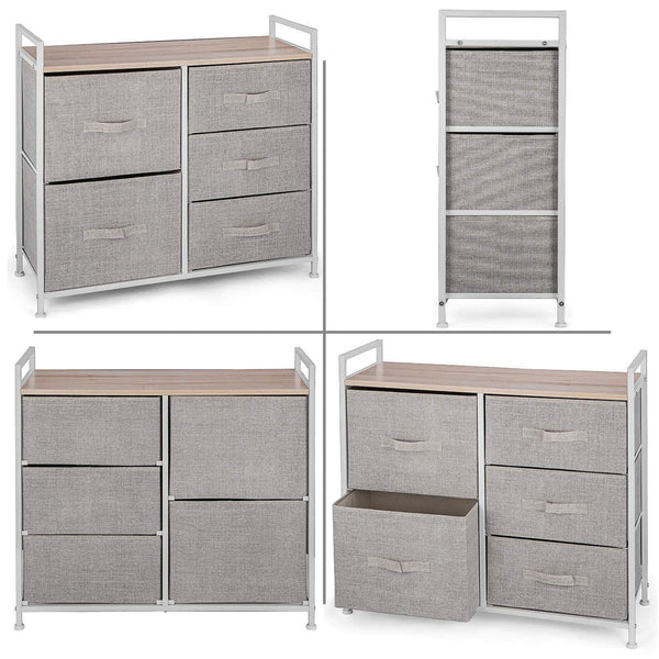 Best happybuy 5 drawer storage organizer unit with fabric bins bedroom play room entryway hallway closets steel frame mdf top dresser storage tower fabric cube dresser chest cabinet beige tall