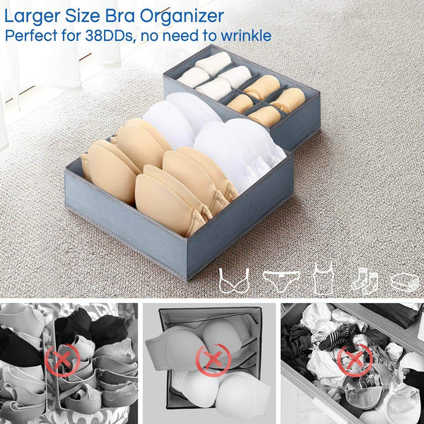 Explore underwear organizer dresser drawer organizer foldable closet drawer dividers washable sock organizer storage bra box fabric bin for baby clothes panties lingeries ties belts