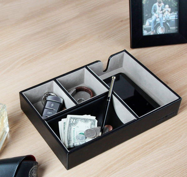 Save jackcube design valet tray multi leather desk or dresser organizer catch all for keys phone wallet coin jewelry and nightstandblack 10 6 x 7 2 x 1 9 inches mk233a