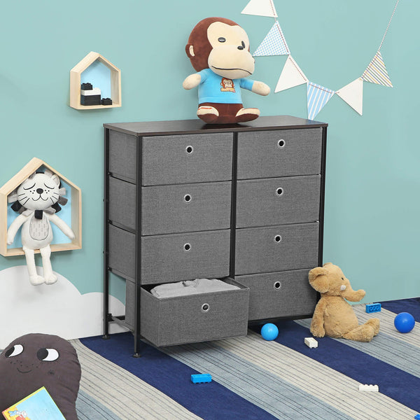 Purchase songmics 4 tier wide drawer dresser storage unit with 8 easy pull fabric drawers and metal frame wooden tabletop for closets nursery dorm room hallway 31 5 x 11 8 x 32 1 inches gray ults24g