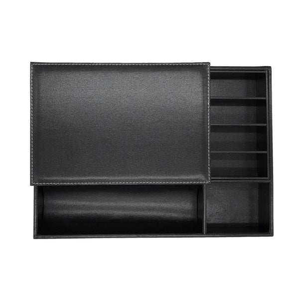 Selection dalledecor black pu leather valet tray with lid and drawer nightstand or dresser organizer vanity room dresser top tray for storage