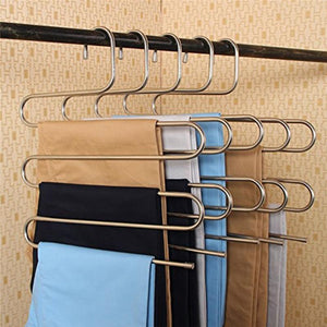 Magic Stainless Steel Trousers Hanger Multifunction Pants Closet Belt Holder Rack S-type 5 Layers Saving Space