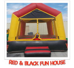 RED AND BLACK FUN HOUSE BOUNCE HOUSE RENTAL