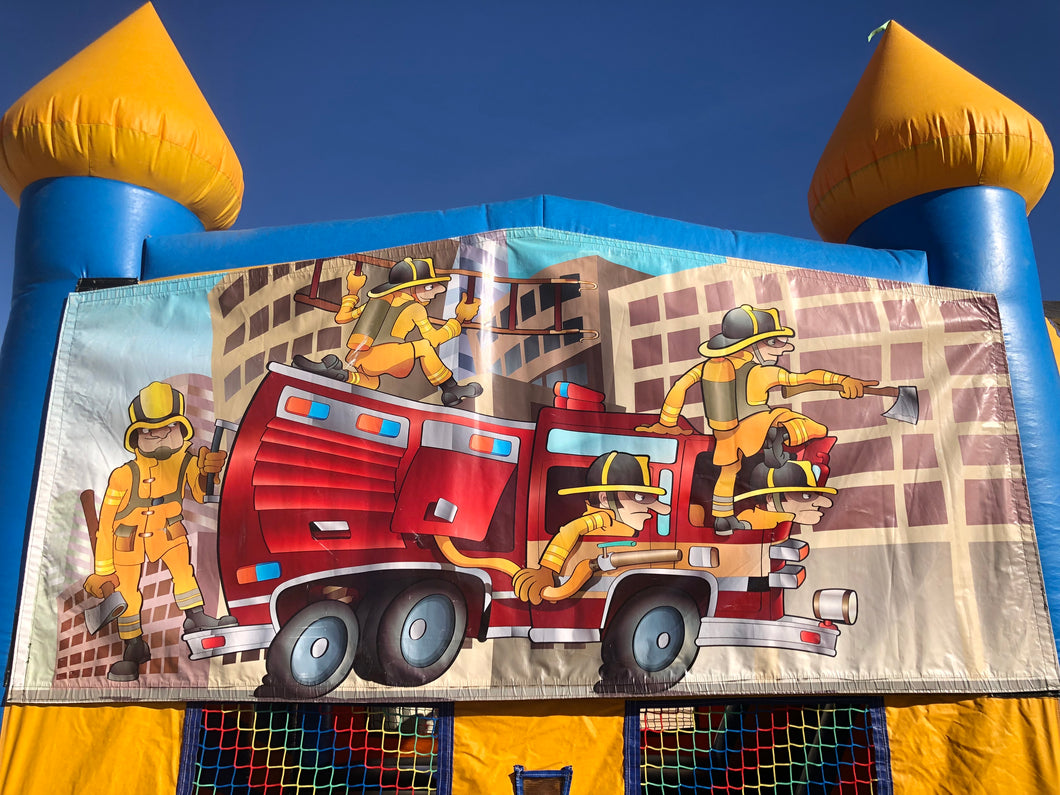 FIRE TRUCK BOUNCE HOUSE BANNER