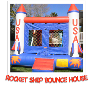ROCKET SHIP BOUNCE HOUSE W/ BASKETBALL HOOP