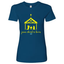 Load image into Gallery viewer, Women's Jesus is Born Fitted Shirt - Online Christian Store