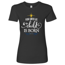 Load image into Gallery viewer, Women's A Child is Born Fitted Shirt - Online Christian Store