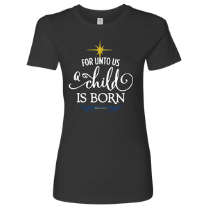 Women's A Child is Born Fitted Shirt - Online Christian Store