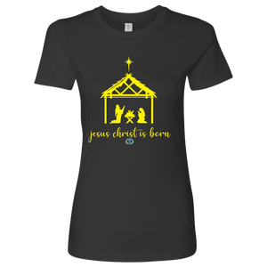 Women's Jesus is Born Fitted Shirt - Online Christian Store