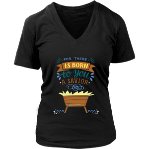 Women's Born a Savior V-Neck T-Shirt - Online Christian Store