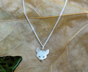 Small fox sterling silver necklace for girl