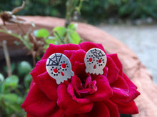 Load image into Gallery viewer, Sugar skull sterling silver earrings