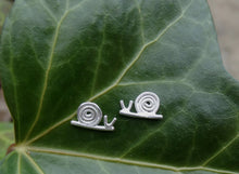 Load image into Gallery viewer, Snail sterling silver stud earrings for little girl