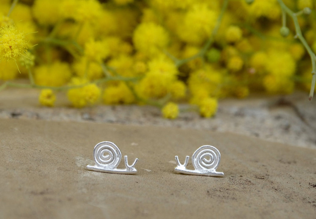 Snail sterling silver stud earrings for little girl