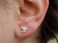 Load image into Gallery viewer, Unicorn silver stud earrings for little girl