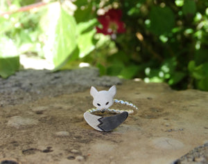 Wrap around silver animal ring for girls