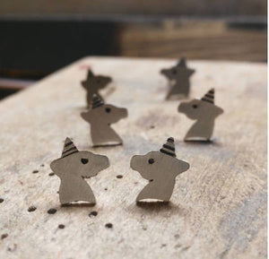 Unicorn silver stud earrings for little girl