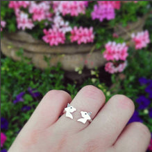 Load image into Gallery viewer, Unicorn sterling silver open ring for girl