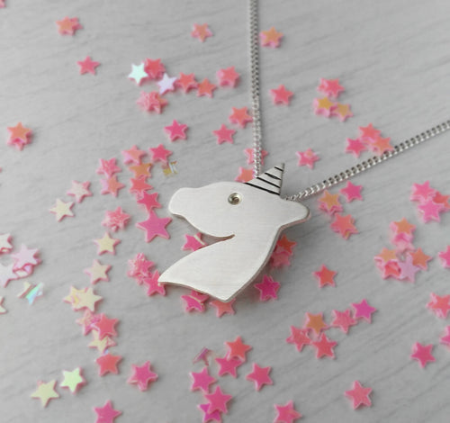 Silver horse necklace for unicorn lovers gift