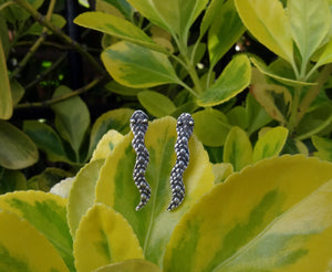 Snake silver earrings, Ear climbers for girl