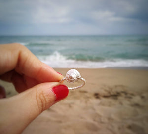 Seashell sterling silver ring for mermaid girl
