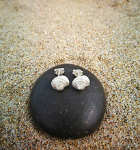 Load image into Gallery viewer, Seashell sterling silver stud earrings for women