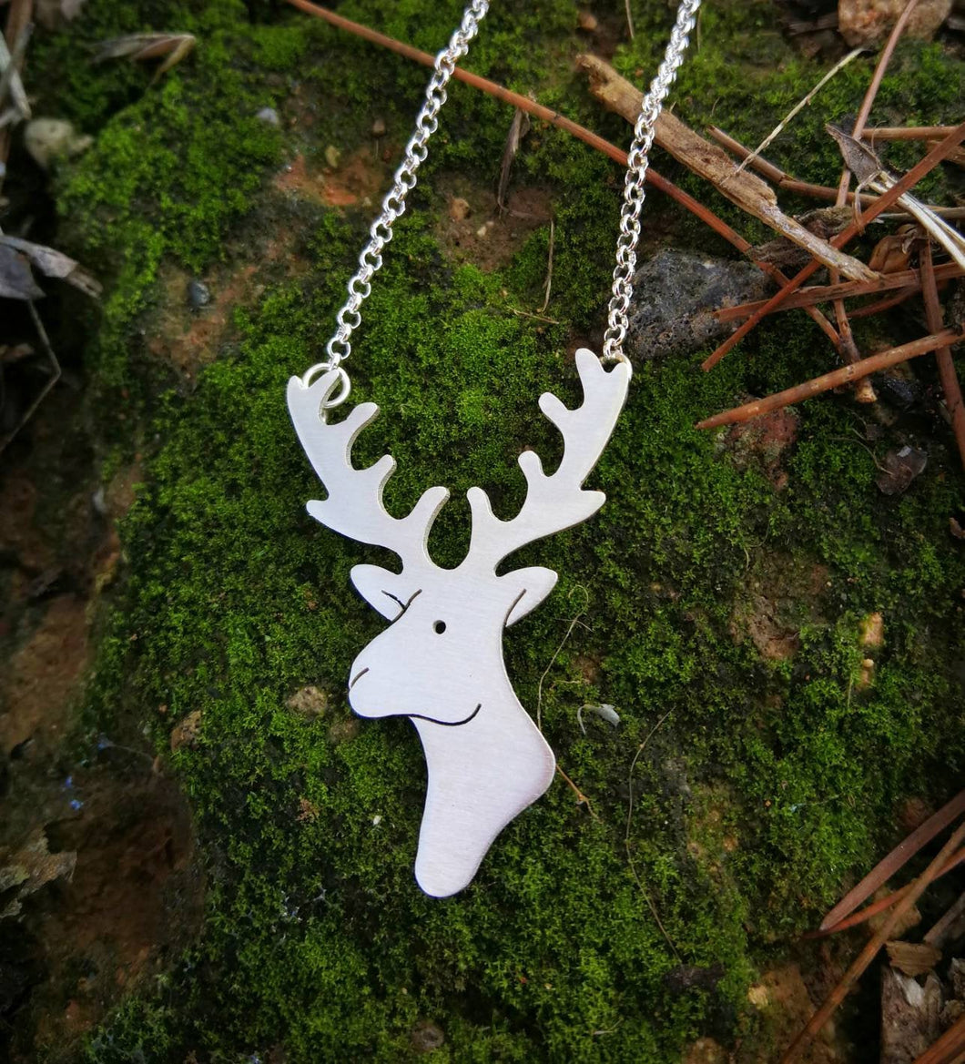 Reindeer sterling silver necklace for women