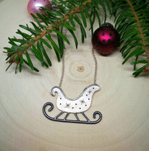 Load image into Gallery viewer, Santa's sleigh sterling silver necklace, Holiday jewelry