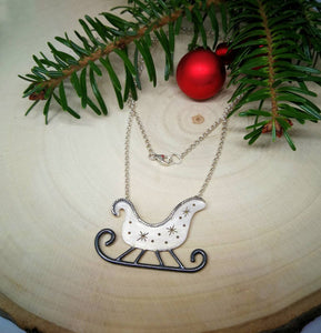 Santa's sleigh sterling silver necklace, Holiday jewelry