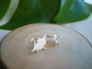 Timon and Pumbaa silver earrings for girl