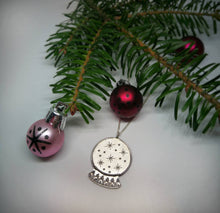 Load image into Gallery viewer, Snow globe sterling silver necklace, Christmas jewelry