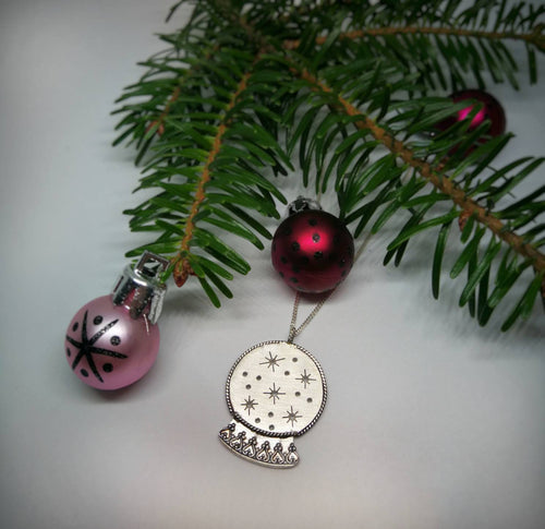 Snow globe sterling silver necklace, Christmas jewelry
