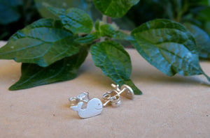 Tiny whale sterling silver stud earrings for daughter