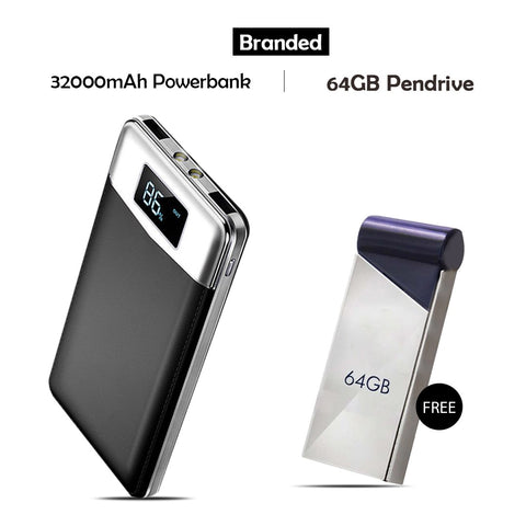 Branded 32000mAh Power Bank Free 64 GB Pendrive