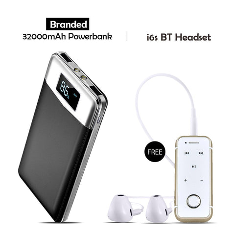 Branded 32000mAh Power Bank Free i6S Bluetooth Headset