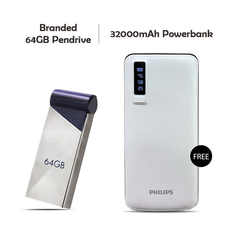 64GB Pendrive With 32000mAH Power Bank