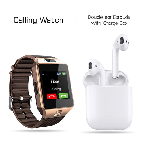 Double Earbud Headset With Free Smart Calling Watch