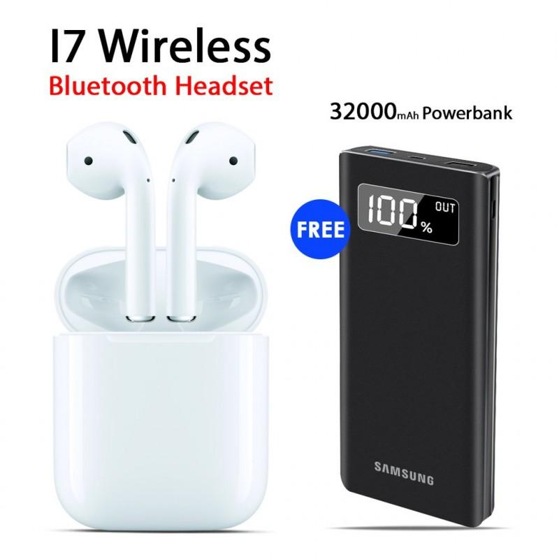 Buy I7 Wireless Bluetooth Headset with Free 32000mAh Power Bank