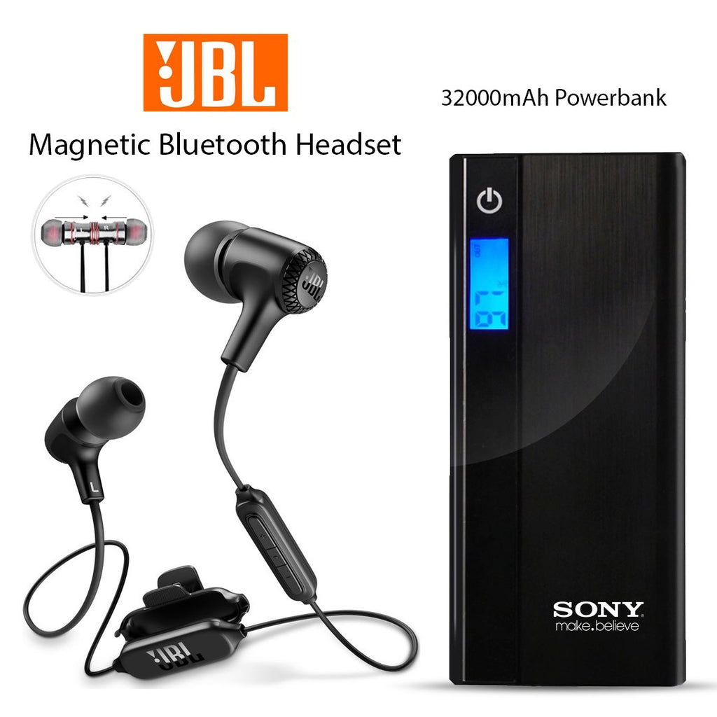 Buy Online Sony 32000mAh Powerbank And Get  Magnetic Bluetooth headset Free