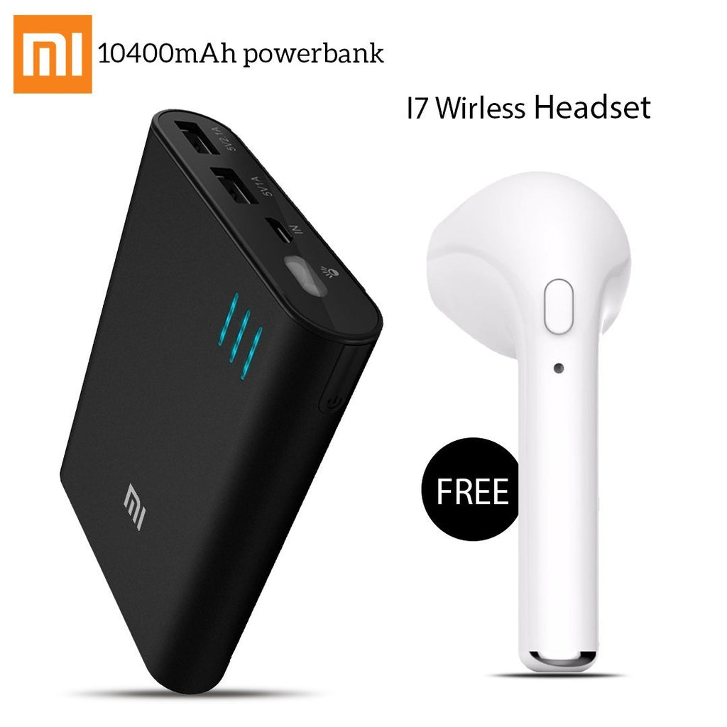 MI 10400mAh LED Power Bank With Free Wireless I7 Headset