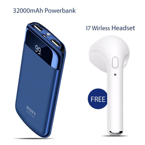 Buy 32000mAh Power Bank with Free I7 Wireless Headset