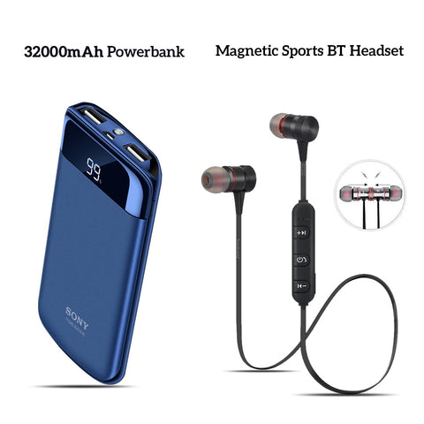 Buy 32000mAh Branded Power Bank With Free Sports Magnet Headset