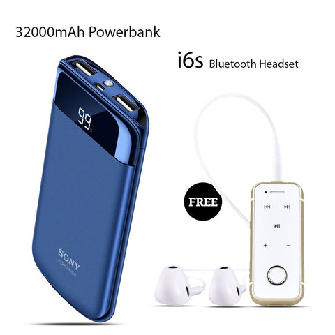 Buy 32000mAH Power Bank With Free I6S Bluetooth Headset