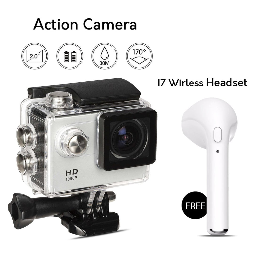 Buy Online Full HD Wifi Action Sports Camera & Get  I7 Wireless Headset Free