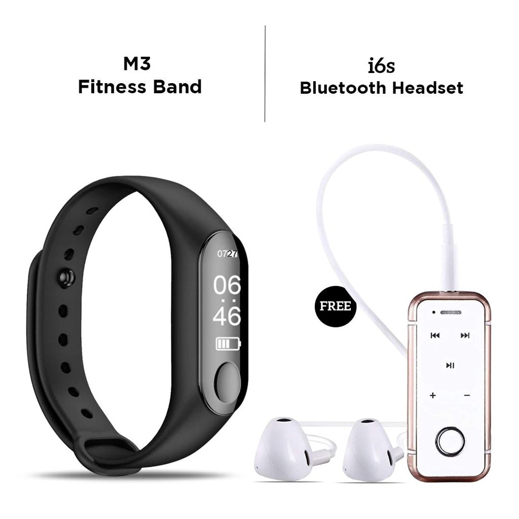M3 Smart Fitness Band with free i6S Bluetooth Headset